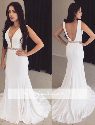 2018 Bodycon Straps Modest Crystals Sleeveless White Prom Dress_3