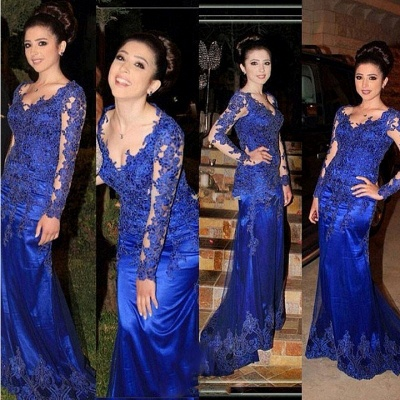 Royal Blue Evening Gowns Mermaid Long Sleeves Lace Applique Long Prom Dresses_3