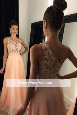 One-Shoulder A-line Lace Appliques Gorgeous Prom Dresses_1