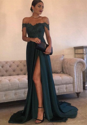 Elegant Dark Green Evening Gowns | Off-the-Shoulder Side Slit Formal Dresses_1