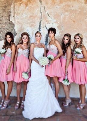Chiffon Short Sweetheart Bridesmaid Dresses Knee Length Beadings Summer Maid of Honor Dresses_3