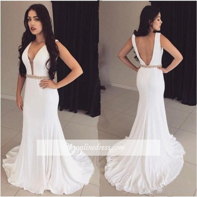 2018 Bodycon Straps Modest Crystals Sleeveless White Prom Dress_1