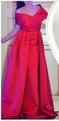 Formal Red Evening Gowns Off the Shoulder Ruched Satin Long Prom Dresses_1