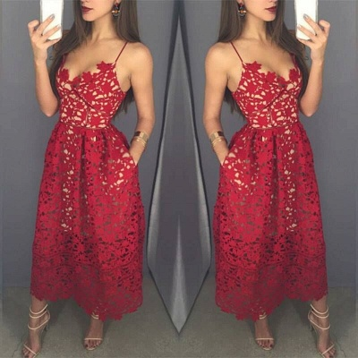 2018 Red Evening Gowns Spaghettis Straps Lace with Pockets Midi Party Dresses_3