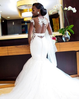 Chic Capped Sleeves Mermaid Wedding Dresses   Sheer Open Back Buttons Bridal Gowns_4