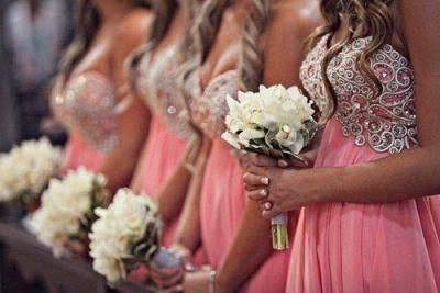 Chiffon Short Sweetheart Bridesmaid Dresses Knee Length Beadings Summer Maid of Honor Dresses_2
