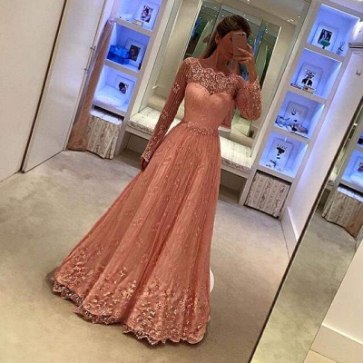 Newest Lace Long Sleeves Party Gowns 2018 Appliques A-Line Prom Dress_3