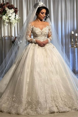 Off the Shoulder Lace Appliques Puffy Wedding Dresses with Half Sleeves_1