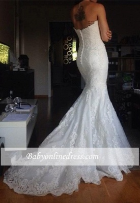 Simple White Appliques Strapless Bridal Gowns Tulle Buttons Wedding Dress_1