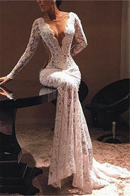 Cut Out Lace Trumpet Prom Dresses with Long Sleeves | Mermaid Evening Dresses