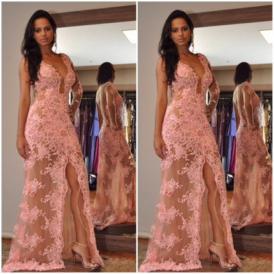 Sexy V-Neck Tulle Appliques Front-Split One-Shoulder Prom Dress_3