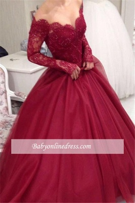 Elegant Tulle Lace Off-the-shoulder V-neck Ball-Gown Long Sleeves Princess Evening Dresses_3