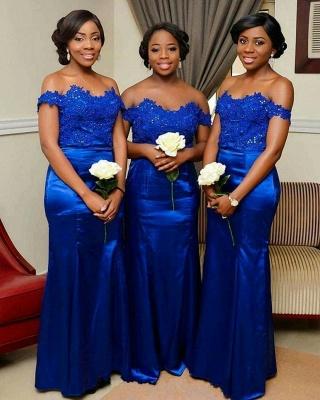 Royal Blue Mermaid Bridesmaid Dress | Off-the-Shoulder Long Wedding Party Dress_3