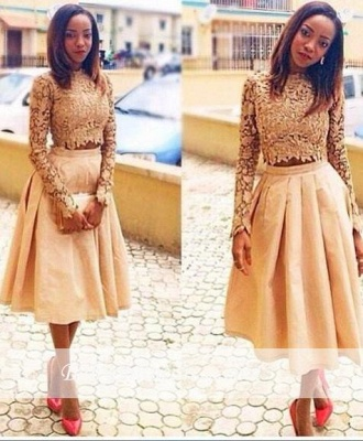 Modest Two-Piece Lace A-Line Long-Sleeves Tea-Length Homecoming Dresses_3