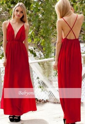 Backless A-line Sexy Spaghetti-Strap V-neck Sleeveless Evening Dress_3