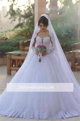 Tulle Ball Long-Sleeves Elegant Popular Appliques Wedding Dresses_1