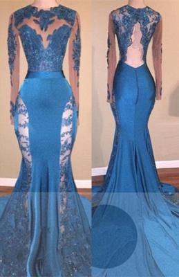 Elegant Blue Mermaid Prom Dresses | Sheer Lace Long Sleeves Evening Gowns_2