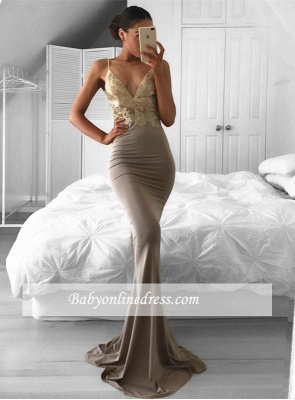 2018 Spaghetti-Strap Sweep-Train Mermaid Sleeveless Sexy Lace Prom Dress_1