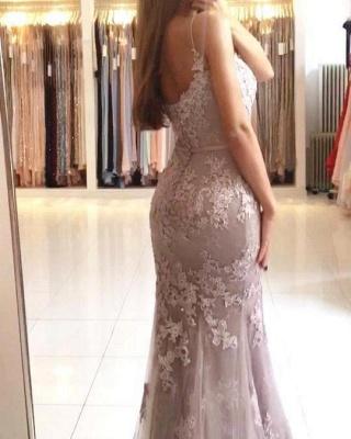 Elegant Sleeveless Mermaid Prom Dresses | Spaghettis Straps Lace Appliques Evening Gowns_2