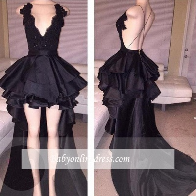2018 Short Layered Sexy Lace Hi-Lo Black Cocktail Prom Dress_1