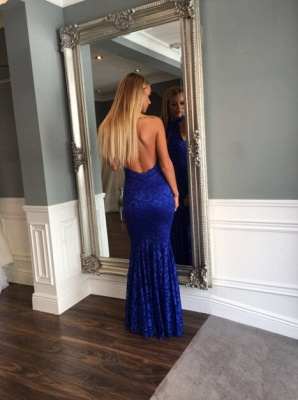 Floor-length Mermaid Lace Sleeveless Backless High-Neck Newest Prom Dress_3