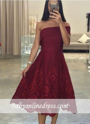 Off-the-Shoulder Asymmetric Tea-Length Burgundy Prom Dresses_3