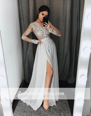 Split-front Stylish Lace A-line Gray Long-sleeve Evening Dress_1
