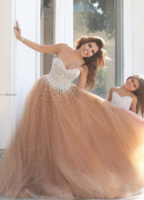 Mother And Daughter Dresses Champagne Girl's Dresses with Beading Long Girl's Pageant Dresses_2