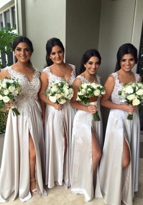 White Lace Appliques Bridesmaid Dresses A-Line Side Slit Party Gowns_1