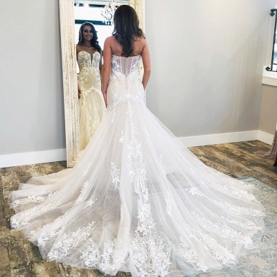 Modern Lace Fit and Flare Wedding Dresses | Cheap Tulle Bridal Gowns_2