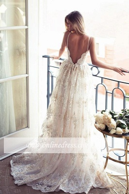 Spaghettis-Straps Backless Lace Sweetheart-Neck A-line Elegant Wedding Dresses_1