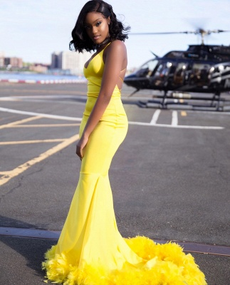 Chic Yellow Mermaid Prom Dresses | V-neck Feathers Train Party Dress_3