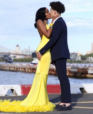 Chic Yellow Mermaid Prom Dresses | V-neck Feathers Train Party Dress_4