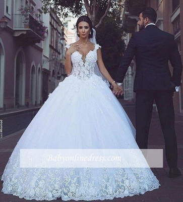 Elegant V-Neck Appliques Bridal Ball Gowns Sleeveless Tulle Wedding Dresses_1