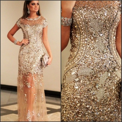 Luxury Beading Tulle Evening Gowns | Short Sleeves Crystals Pageant Dress_3