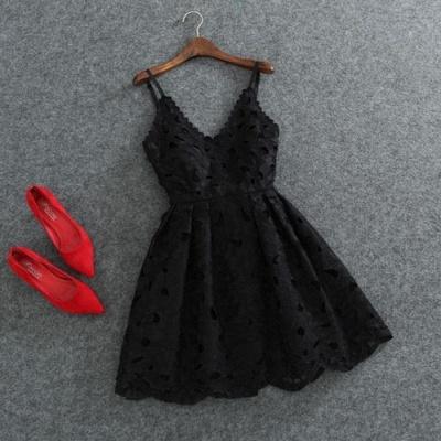 Short Mini Lace Cute White Spaghettis-Strap Homecoming Dress_5
