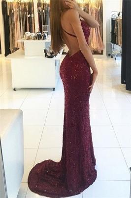 Shiny Mermaid Burgundy Prom Dresses 2018 V-neck Straps Backless Sequined Formal Dress_3