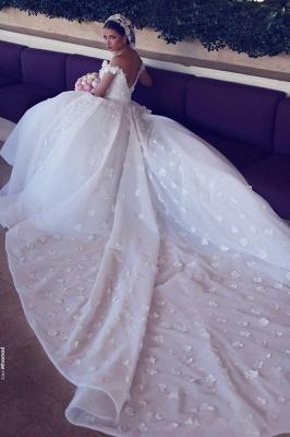 Elegant Off-the-Shoulder Wedding Dresses Open Back Appliques Bridal Gowns_4