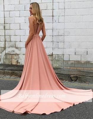 A-line Simple Pink Sweep-trian Sleeveless Halter Evening Dress_4