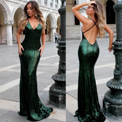 Gorgeous Mermaid Evening dresses Spaghetti Straps Deep V-Neck Sequins Prom Dresses_4