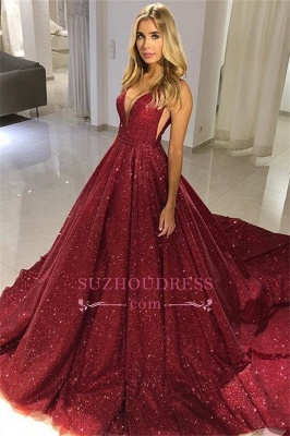 Sparkly Red Sequin V-neck Puffy Sleeveless Long Prom Dresses | Floor Length Evening Dresses_1