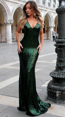 Gorgeous Mermaid Evening dresses Spaghetti Straps Deep V-Neck Sequins Prom Dresses_3