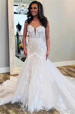 Modern Lace Fit and Flare Wedding Dresses | Cheap Tulle Bridal Gowns_1