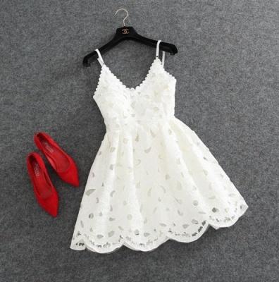 Short Mini Lace Cute White Spaghettis-Strap Homecoming Dress_4