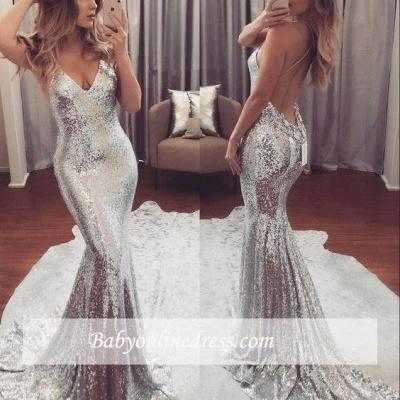 2018 Backless Sequins V-Neck Mermaid Gorgeous Prom Dress_1