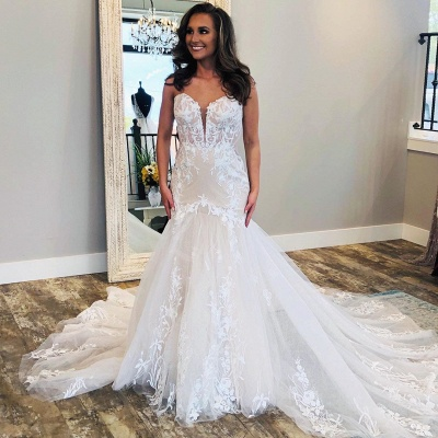 Modern Lace Fit and Flare Wedding Dresses | Cheap Tulle Bridal Gowns_3