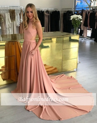 A-line Simple Pink Sweep-trian Sleeveless Halter Evening Dress_5