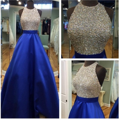 Halter Neck Prom Dresses Royal Blue Puffy Long Formal A-line Evening Gowns_4