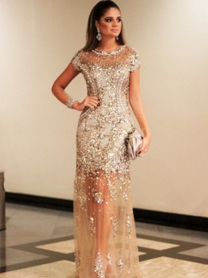 Luxury Beading Tulle Evening Gowns | Short Sleeves Crystals Pageant Dress_1