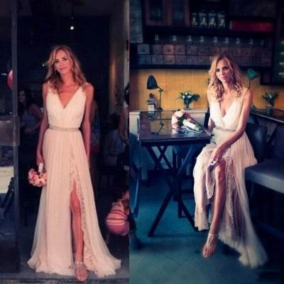 Boho Backless Beach Wedding Dresses V Neck Side Slit Chiffon Summer Bohemian Bridal Gowns_3